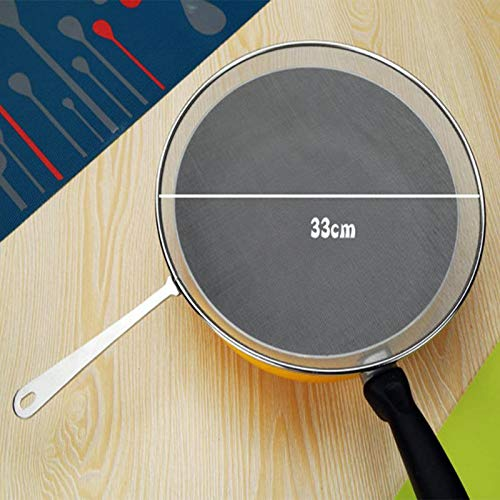 SODIAL Stainless Steel Splatter Screen Handle Anti Grease Splash Scald Proof Frying Pan Cover Cooking Tools Oil Net