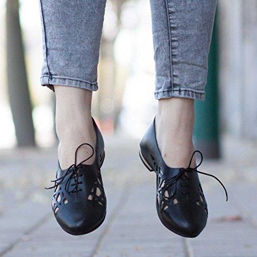 Cutout Oxford Shoes Summer Bangi Shoes Black Leather HSgU5xwIq