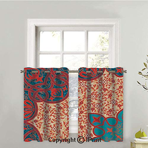 Tier Arabesque Two - LIFEDZYLJHGO Short Curtains Half Window Curtains for Bedroom,Privacy Curtain Tiers for Windows,Set of 2,Floral Arabesque Motifs with Ancient Antique Traditional Cultural Elements,42