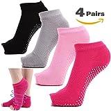 Women's Yoga Socks Full Toe Grips No Slip Skid Barre Pilates Mens Socks (4 Pairs (Black + pink + gray +rose red))