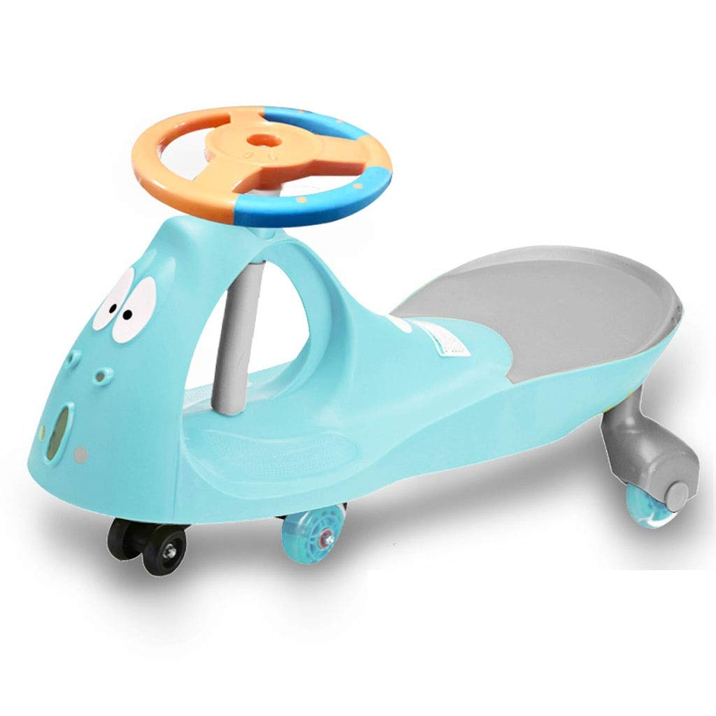子供のツイスト車、子供のおもちゃ1-3 - 7年歳のスイング車の滑走少年少女赤ちゃんヨーヨー車ジャイロウィグルスクーター音楽ステアリングホイールミュートホイール  青 B07R86DG54