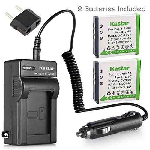 Klic 7004 Replacement Battery (Kastar Battery (2-Pack) and Charger Kit for Fujifilm NP-50, Kodak KLIC-7004, Pentax D-Li68 work with Fujifilm FinePix F50FD,F60FD,F70EXR,F75EXR,F80EXR,F85EXR,F100FD,F200EXR,F300EXR,F305EXR,F500EXR,F505EXR,F550EXR,F600EXR,F605EXR,F660EXR,F665EXR,F750EXR,F770EXR,F775EXR,F800EXR,F850EXR,F900EXR,REAL 3D W3,X10,X20,XF1,XP100,XP110,XP150,XP160,XP170,XP200,BC-50,BC-45W and Kodak EasyShare M1033,M1093,M2008,PlayFull Dual,PlaySport,PlayTouch,V1073,V1273,V1233,V1253,Zi8,Zx3,Zi12 Cameras)