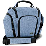 DSLR Camera Bag Sling (Blue) with Weather Resistant Bottom, Soft Cushioned Interior & Side Lens Storage Pockets by USA Gear - Works with Nikon D500, Canon EOS 80D, Sony Cyber-Shot DSC-RX10 III & More