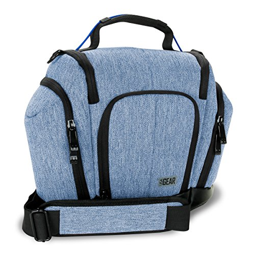 USA GEAR DSLR Camera Bag (Blue) with Weather Resistant Bottom, Soft Cushioned Interior and Side Lens Storage Pockets - Compatible with Nikon D500, Canon EOS 80D, Sony Cyber-Shot DSC-RX10 III and More
