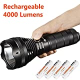High Lumen USB Flashlight Rechargeable 4000 Lumens with 4x 3400mAh 18650 Rechargeable Batteries: LUMINTOP SD75 Most Powerful Long Range Large Waterproof Search Torch Light with Strobe, Cree XHP70 LED