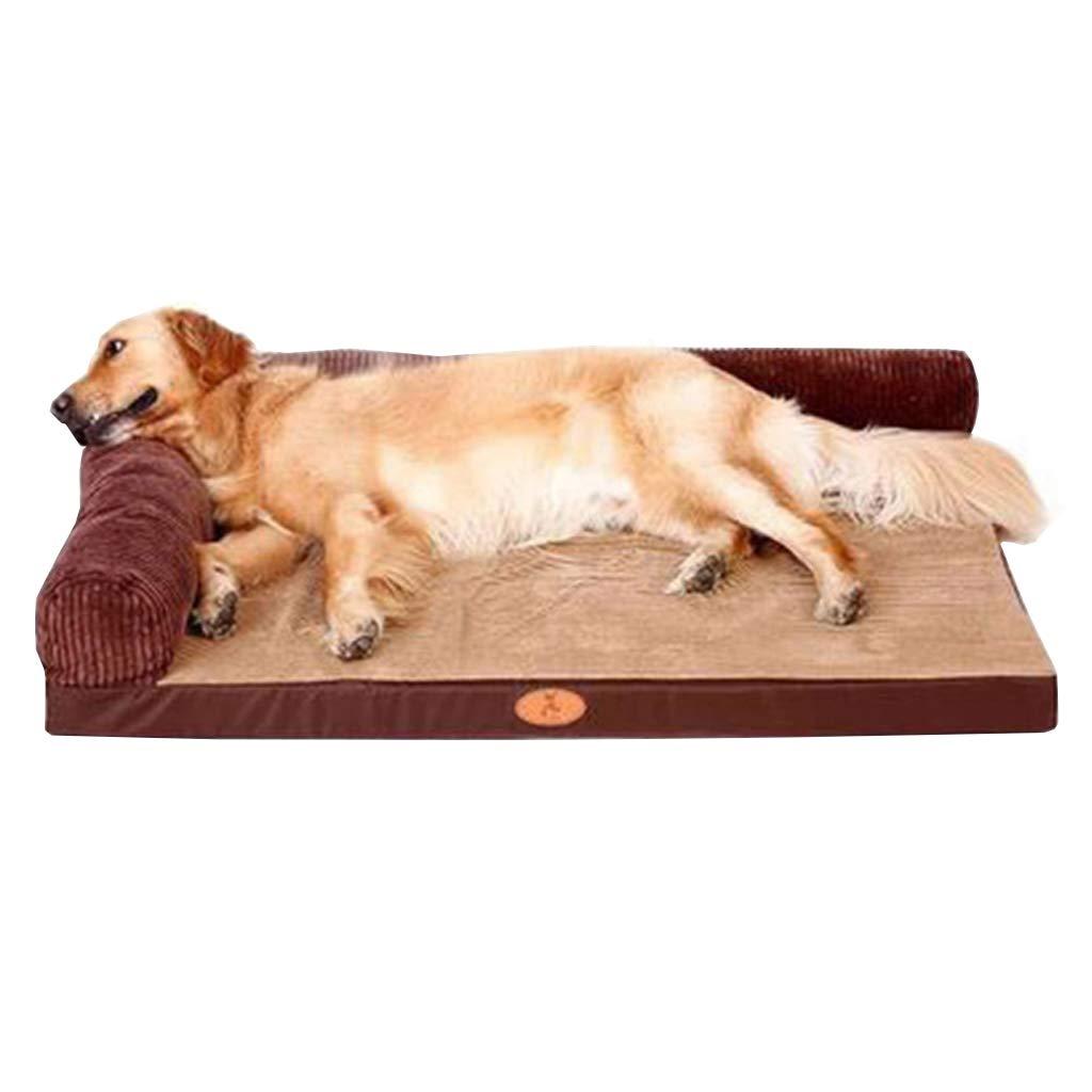 LXYUCWD Bilateral Dog Mattress Pad Winter Dog Bed Labrador Medium Large Dog Pet Nest golden Retriever Dog Supplies Warm (brown)