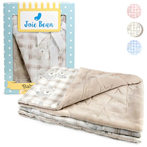 ce Brown Baby Blanket for Infants | Soft Double Layer Quilt for Newborns and Toddlers | 100% Breathable Lightweight Polyester, Swaddle Throw, Embossed Star Bear Pattern (Latte) ()