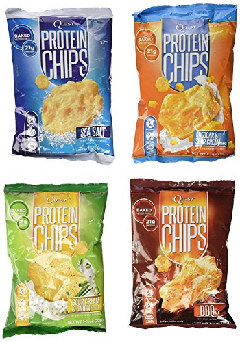 Quest Nutrition Protein Chips, Variety Pack Including BBQ, Sea Salt, Cheddar & Sour Cream,& Sour Cream & Onion, Pack of 8, 2 Bags of Each