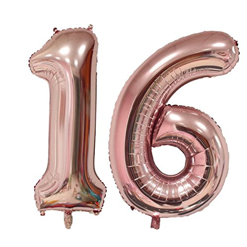 40 inch Jumbo 16th Rose Gold Foil balloons for Birthday Party Supplies ,Anniversary Events Decorations and Graduation Decorations (Rose Gold16)