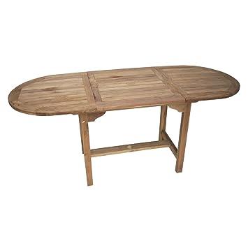 Esstisch ausziehbar oval  Amazon.de: Ambientehome Teakholz Tisch Esstisch ausziehbar oval ...