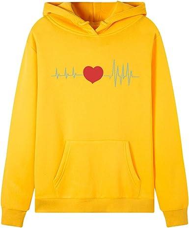 OPAKY Sudadera con Capucha y Estampado de Corazón de Manga Larga para Mujer Blusa de Invierno y Otoño Blusas de Señora Sudaderas Adolescentes Chicas Sudaderas Camiseta Blusa Tops de Manga Larga: Amazon.es: