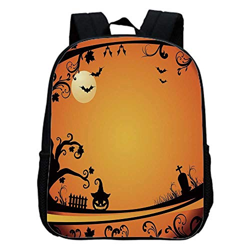 Vintage Halloween Fashion Kindergarten Shoulder Bag,Halloween Themed Image Eerie Atmosphere Gravestone Evil Pumpkin Moon Decorative For Hiking,One_Size -