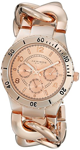 Akribos XXIV Women's AK642RG Ultimate Multi-Function Rose-Tone Diver Style Twist Chain Bracelet Watch