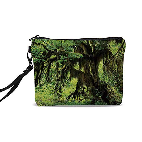 Rainforest Decorations Simple Cosmetic Bag,Tree with Moss in the Jungle Natural Life Zen Home Decor Silent Plants Pattern for Women,9