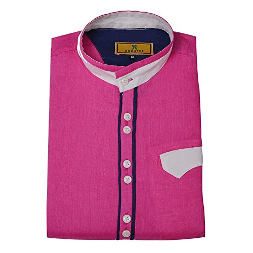 1b24e0b24faf Pink Color Pure Linen Designer Shirt (Medium-38) - Rooster Den  Amazon.in   Clothing   Accessories