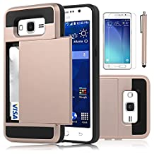 Galaxy Grand Prime Case, EC™ [Shockproof][Drop Protection] Hybrid Dual Layer Slim Wallet Case with Card Slot Holder Hard Shell Cover for Samsung Galaxy Grand Prime G530 (Rose Gold)