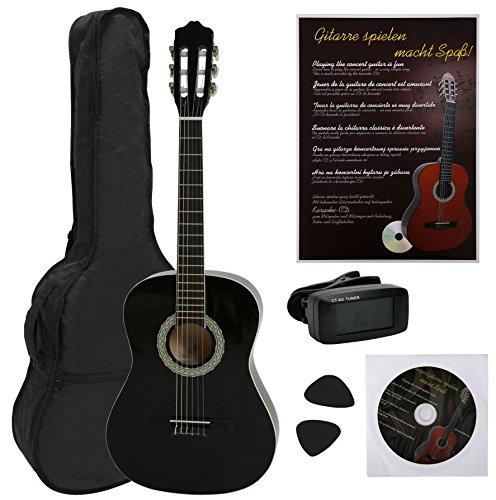 NAVARRA NV12PK - Guitarra clásica STARTER PACK 4/4 negro con bordes crema incl.