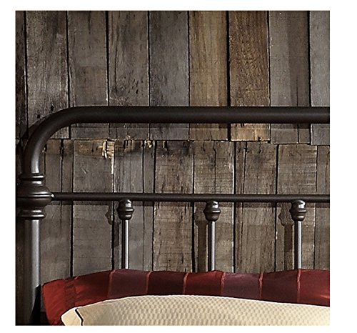 Bedroom TRIBECCA home Wrought Iron Bed Frame Dark Bronze Metal Queen Size USA Vintage Look Shabby Chic French Country (Queen) farmhouse beds and bed frames