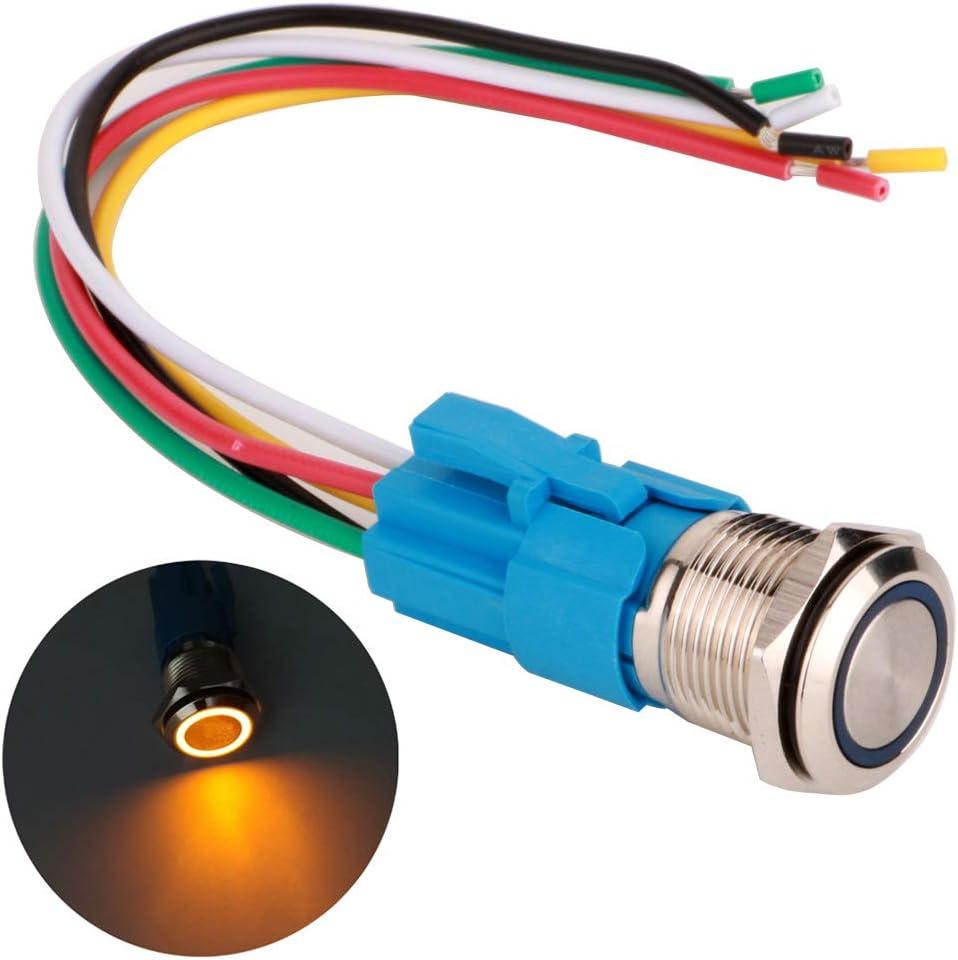 Anneau de lumi/ère LED LED Orange Gebildet 16mm Interrupteur Bouton Poussoir Momentan/é en Acier Inoxydable 12V-24V 5A 1NO1NC SPDT on Off Interrupteur /à Levier /Étanche avec Fiche /à Douille