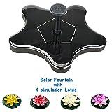 Solar Floating Fountain Pump,New Design Pentagram Shape Outdoor Garden Pool Decoration With 4 Flower Simulation Lotus