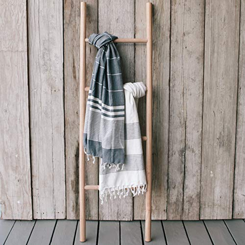 Sandstone & Sage Blanket-Ladder | Hand Made Natural 5ft Wooden Ladder Shelf | Farmhouse Decor to Use for Quilt or Towel Rack | Crafted from Sustainable Wood