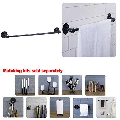 Industrial Pipe Towel Bar Fixture Set by Pipe Decor | Wall Mounted DIY Style, Heavy Duty Rustic Iron, Black Electroplated Rust Free Finish With Mounting Hardware For Kitchen Or Bath Hanging, 24 Inches