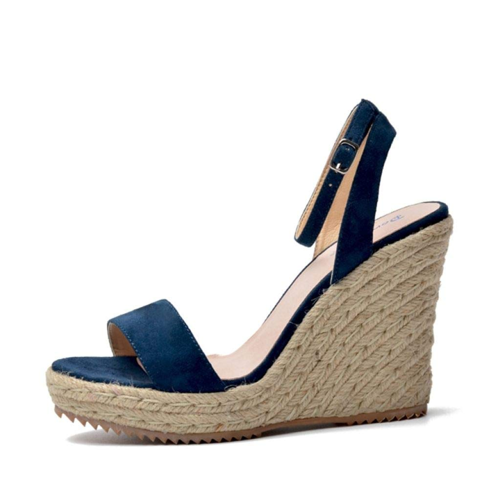 bluee Suede T-JULY Women Platform Sandals Wedge Genuine Leather High Heels Open Toe Ladies shoes Brand Fashion Black Pink bluee Summer
