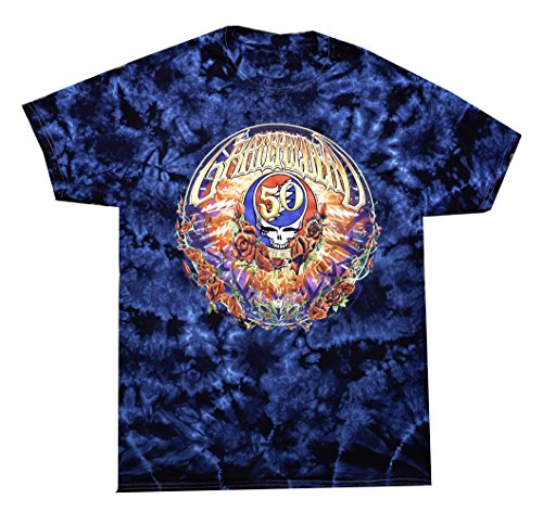 Grateful Dead Tie Dye T-shirt - 50th Anniversary Commemerative T Shirt (Large)