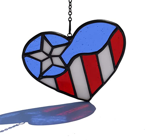 HAOSUM Patriotic Decoration Stained Glass American Flag Heart Shaped Window Hanging 4.3 3.9