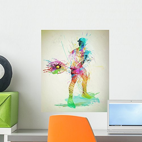 Wallmonkeys Abstract Tennis Player Wall Mural Peel and Stick Graphic (18 in H x 15 in W) ()