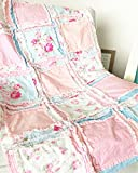 Floral Baby Girl Crib Quilt - Light PInk / Pastel Blue - QUILT ONLY