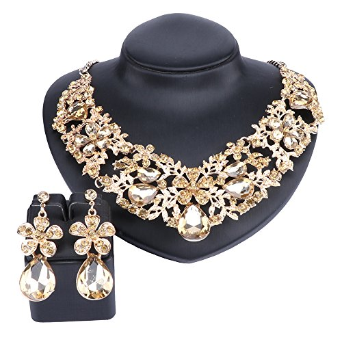 Austrian Cross Crystal - Austrian Crystal Rhinestone Bridal Wedding Necklace Earrings Jewelry Sets for Women (Champagne)