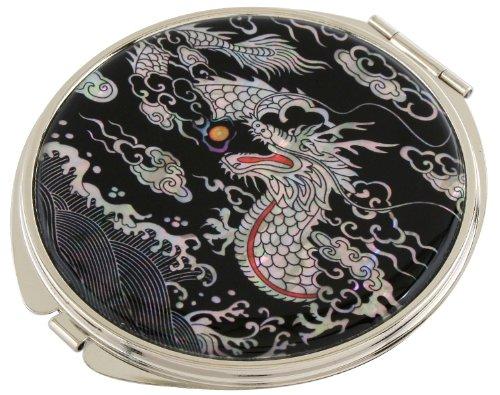 Mother of Pearl Makeup Mirror Dragon Design Cosmetic Mirror Handbag Purse Handheld -