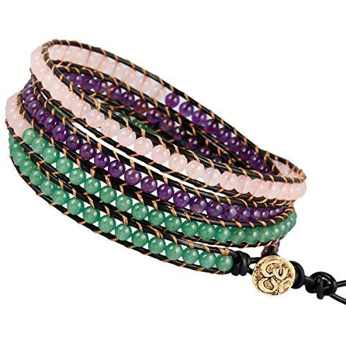 - TUMBEELLUWA Wrap Bracelets Beads Bohemian Woven Leather Friendship Bracelet Healing Crystal Stone Jewelry,Amethyst+Rose Quartz+Green Aventurine