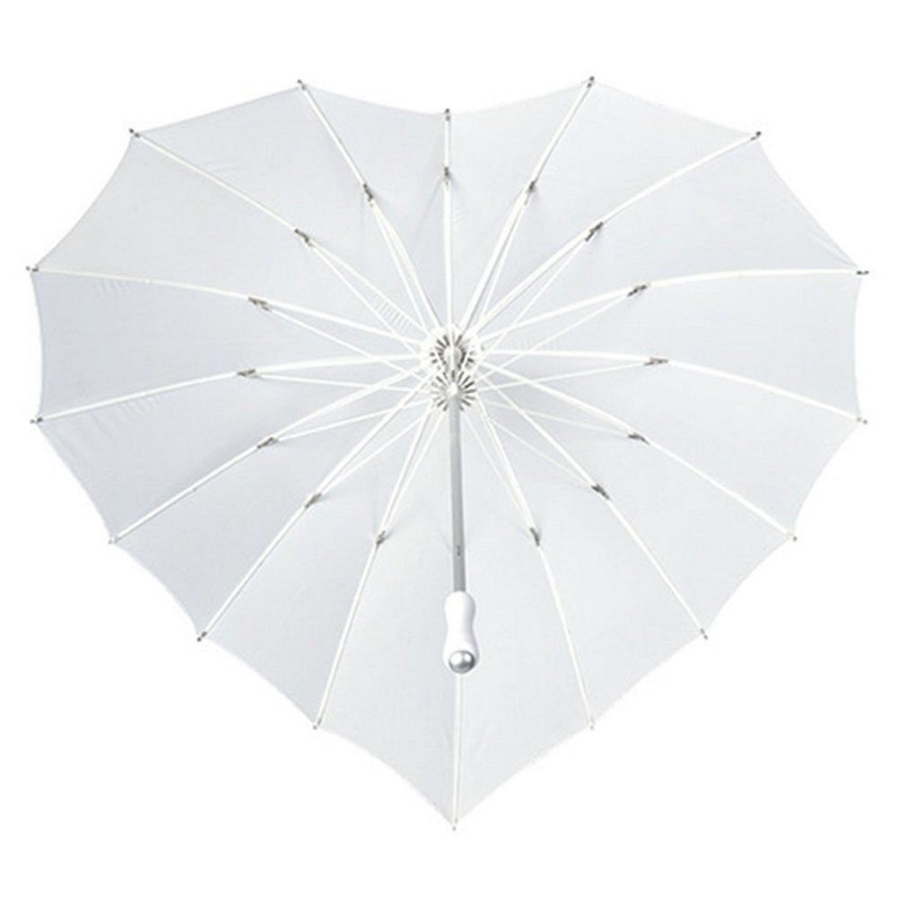 ''FOREVER LOVE'' Print - Heart Shaped Bridal Wedding Umbrella - IVORY by The Stunning Bride (Image #3)