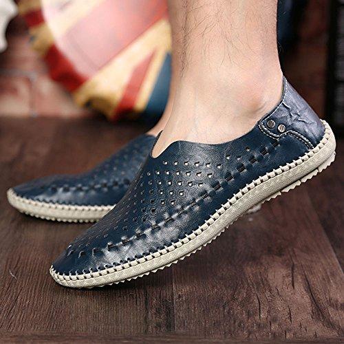 Zapatos Guisantes Hombres ahuecados los de de de Mano Zapatos Verano de Hechos a Azul Costura BrZBq