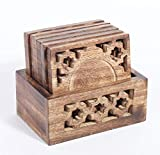 Best Drink Coasters With Wood Holders - Rusticity Wood Coaster Set of 6 with Holder Review