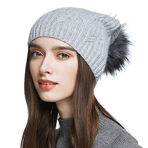 Women's Slouchy Wool Knitted Pom Pom Beanie Cap Winter Crochet Cotton Hat