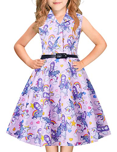 Lavender Fairy Dress - 6Y 7Y 8Y Baby Girl Vintage Dress Lavender Mermaid Fairy Funny Colorful Rainbow Floral Print Little Kids Button Down Collar Swing Midi Long Pleated Lace Dresses 30s 40 50s 60 for Prom Dressing Up Party