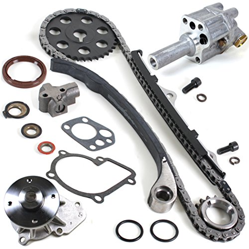 (NEW TK10090WPOP Timing Chain Kit, Water Pump Set, & Oil Pump for 90-97 Nissan D21 Pickup 2.4L KA24E)