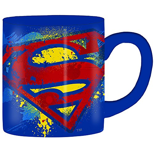 (Silver Buffalo SP110232 DC Comics Superman Splatter Paint Logo Ceramic Mug, 14-Ounces)