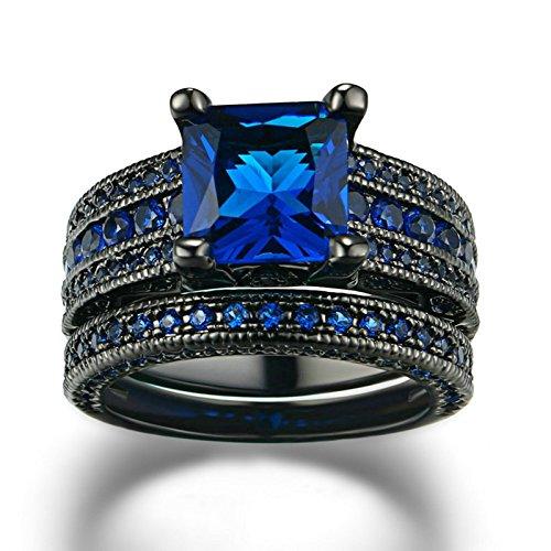 - ANAZOZ Fashion Rings, Gold Plated 2PCS Engagement Ring Set Princess Cut Blue Stone Women Luxury Wedding Band Size 9