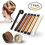 Hair Bun Maker, Hair Bun Donut DIY Roller Hairstyle Tools with Synthetic Hair (7pcs with Different Color)