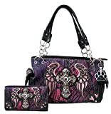 HW Collection Western Camo Camouflage Rhinestone Cross Wings Concealed Carry Handbag and Crossbody Wallet (Purple)