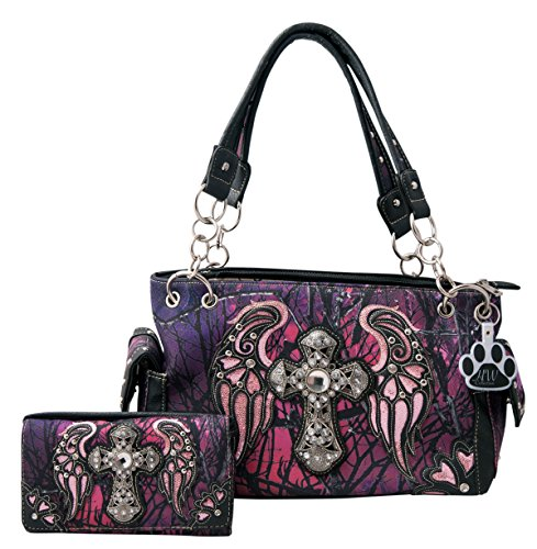 HW Collection Western Camo Camouflage Rhinestone Cross Wings Concealed Carry Handbag and Crossbody Wallet (Purple) by HW Collection