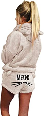 2 unids Mujeres Gato Pijamas Cute Girls Meow Sleepwear Suave Albornoz Shorts Winter Lounge Sleepwear Sets