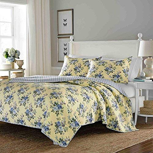 3 Piece Yellow Bedspread Quilt Set with Light Gray / Blue Roses & Reversible Stripe Patterns - King Size