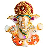 UniqueArt White Stone God Ganesha Car Dashboard Decor Statue | Hindu Idol God Ganesh Ganpati Decor Sculpture | Decorative Gift