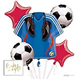 Andaz Press Balloon Bouquet Party Kit with Gold Cards & Gifts Sign, Soccer Futbol World Cup Party Foil Mylar Balloon Decorations, 1-Set
