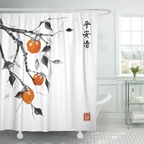 Emvency Shower Curtain Orange Date Plum Tree Traditional Oriental Ink Painting Sumi Shower Curtains Sets with Hooks 72 x 78 Inches Waterproof Polyester Fabric